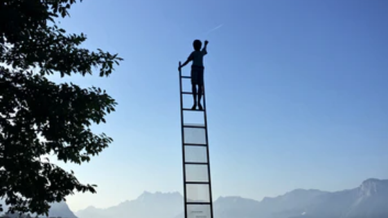 Boy climbing ladder to show courage.